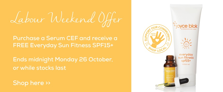 Free Everyday Sun Fitness SPF15+ with Serum CEF purchase during Labour Weekend